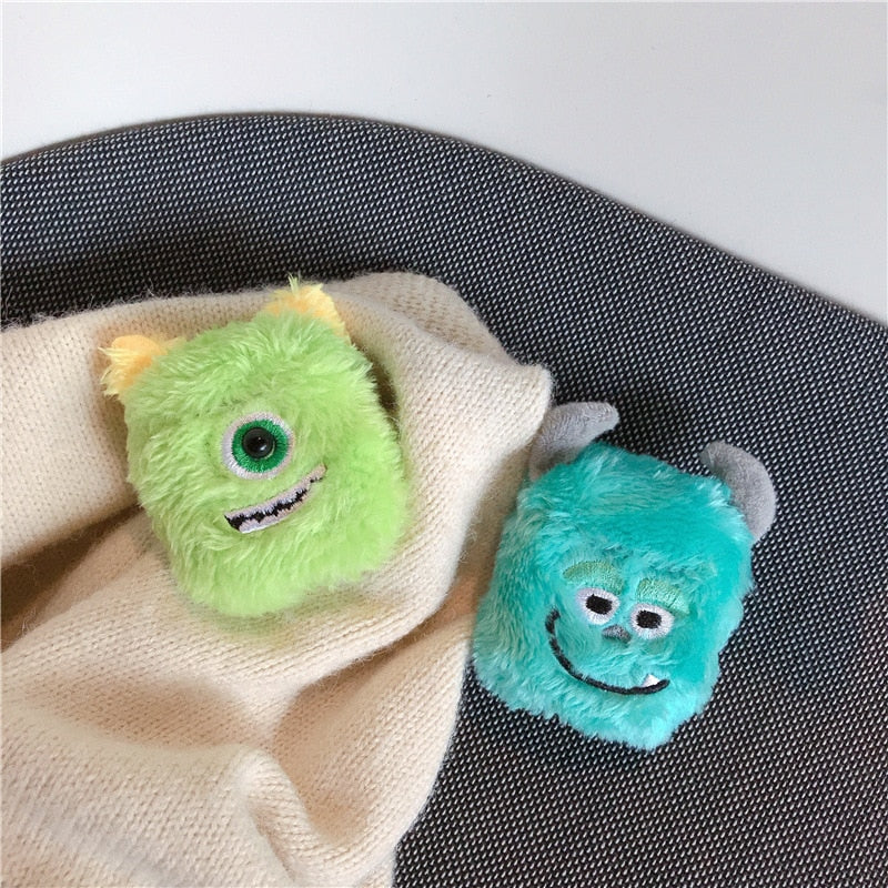Monsters Cartoon fluffy warm Case for Airpods Pro 3 Furry Cloth Wireless Earphones Knitted Plush Skin Covers for air pods 3 2 1