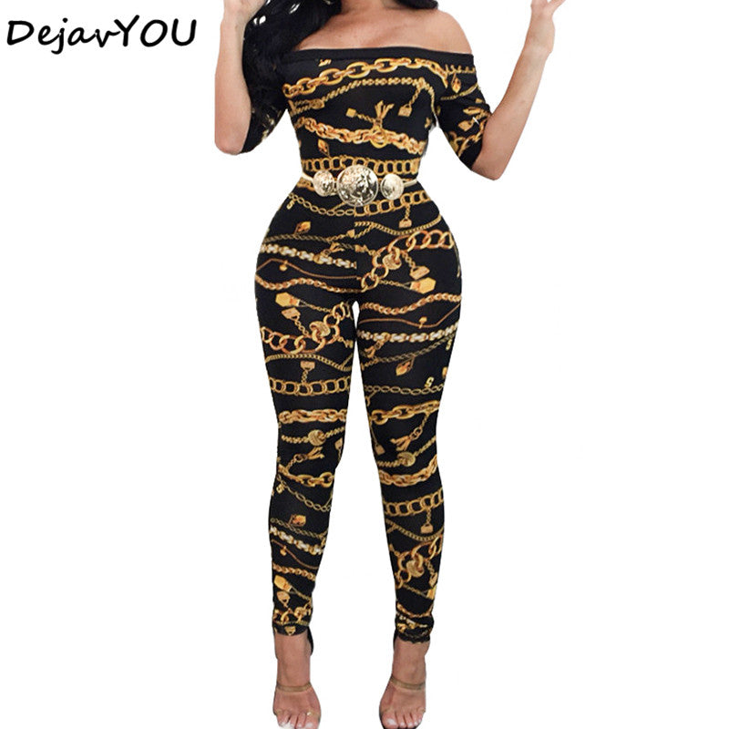Autumn Off Shoulder Jumpsuits Long Pants For Women 2020 Elegant Fitness Short Sleeve Boho Playsuit Sexy Club Rompers Overalls