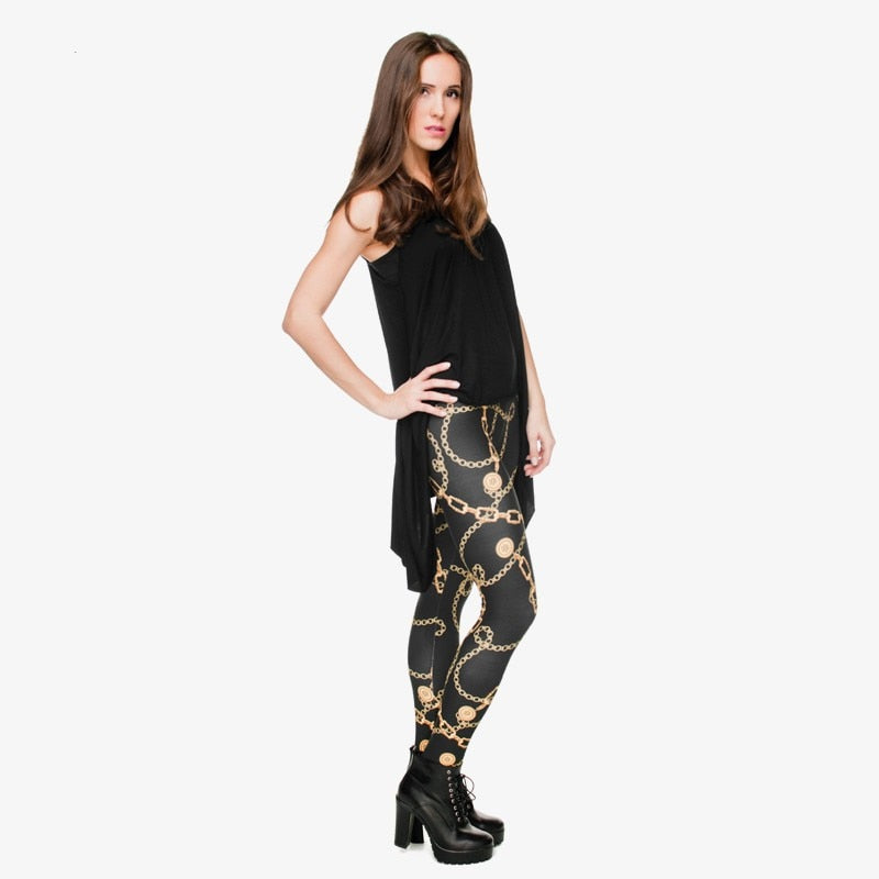 High Elasticity Legging Women Clothing Ladies Full Length Gold Chains Printing Legins Sexy Fitness Pants Workout Leggings