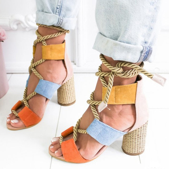 Women Pumps Fashion Women Heels Lace Up High Heels Sandals For Summer Shoes Women Gladiator Sandals Thick Heels Chaussures Femme