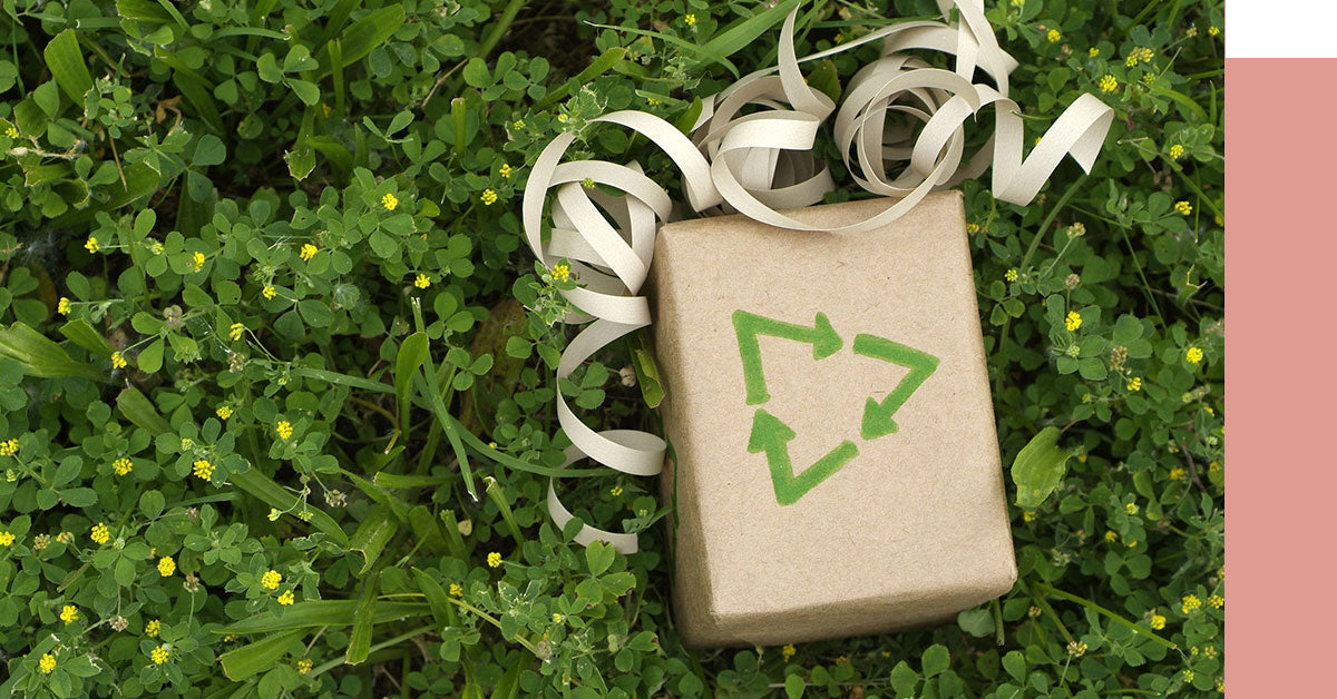 A gift wrapped in recycled paper