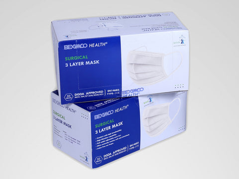 Surgical 3-Layer Mask (2-Pack Combo, 100 Pieces) - White