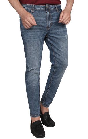 Mid Washed Cropped Jeans