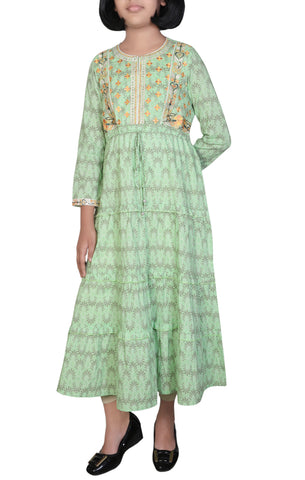 Printed With Embroidered Junior Girl's Ethnic Trail (10-15 Years Old)