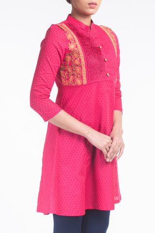 Printed With Embroidered Women's Ethnic Frock.