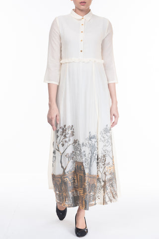 WOMENS LONG DRESS OFF WHITE