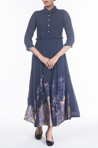 WOMENS LONG DRESS NAVY