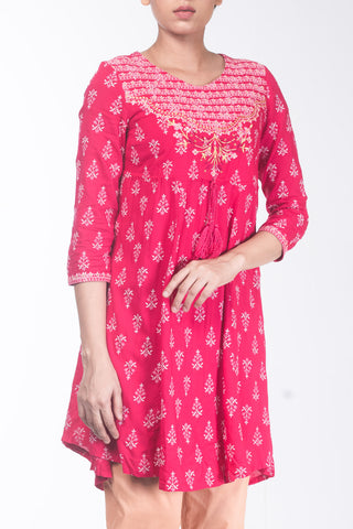 Printed With Embroidered Ethnic Frock.
