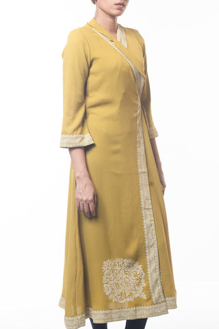 WOMENS LONG DRESS OLIVE YELLOW