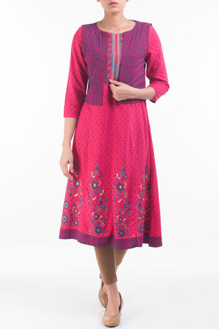 W ETHNIC ROSE RED PRINTED