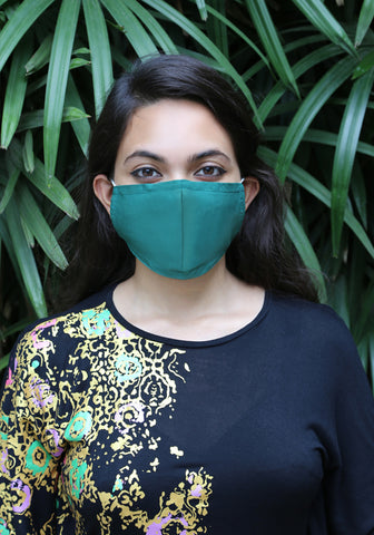 Hepa Filter Woven Mask GREEN
