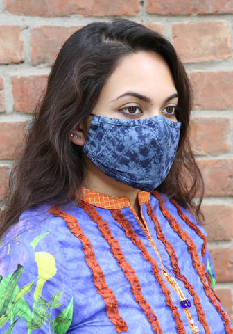 Laser Stripe Denim Fashion Mask
