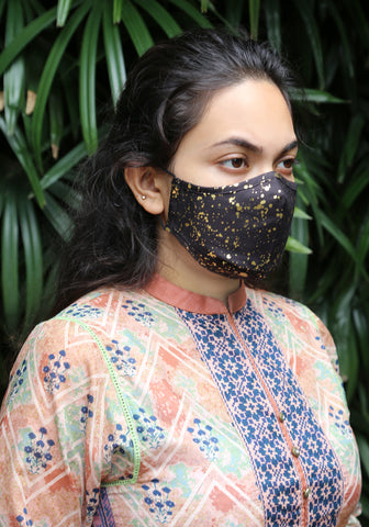 Metallic Printed Woven Fashion Mask