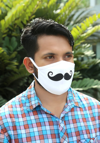 Printed Knit Fashion Mask Mustache Print