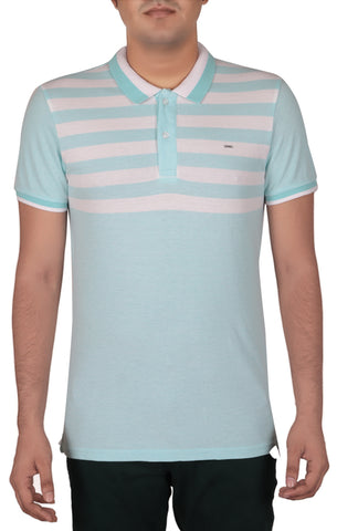 M POLO SHIRT A BLUE B WHITE