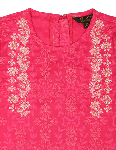 Girls Ethnic HOT PINK PRINTED