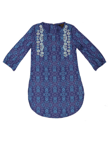 Girls Ethnic NAVY PRINTED