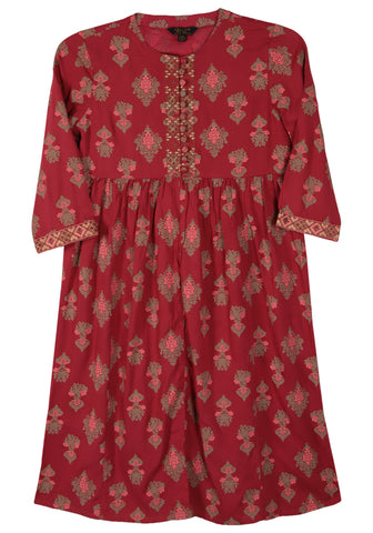 Printed With Embroidered Girl's Ethnic Trail (2-5 Years)