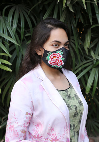 Floral Embroidered Woven Fashion Mask