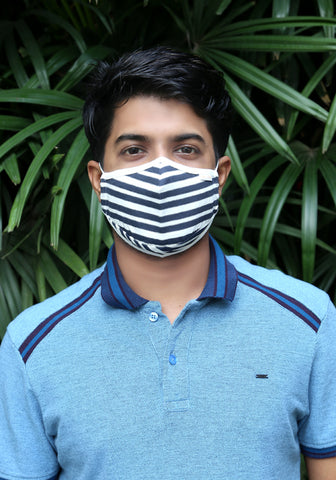 Printed Knit Fashion Mask Navy Stripe