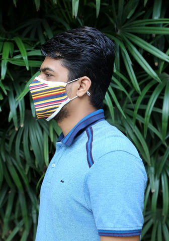 Printed Knit Fashion Mask Rainbow Stripe - 3-PIECE PACK