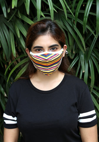 Printed Knit Fashion Mask Rainbow Stripe