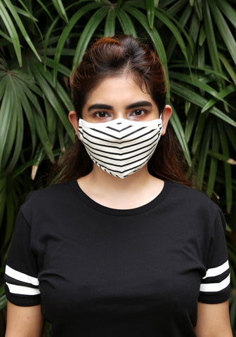 Printed Knit Fashion Mask Black Stripe