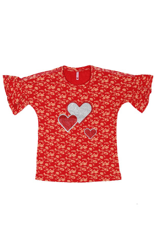 Printed Girls T-Shirt RED