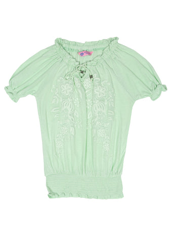 J Girls Knit F Top LT GREEN