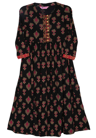 J Girls Ethnic BLACK FOREST PRINTED