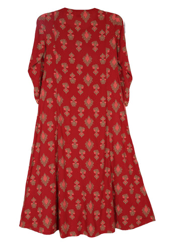 J Girls Ethnic SCARLET SAGE PRINTED