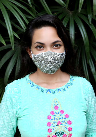 Embroidered Woven Fashion Mask Hena