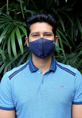Denim Fashion Mask Dark Indigo