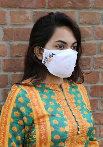 Floral Embroidery Woven Fashion Mask