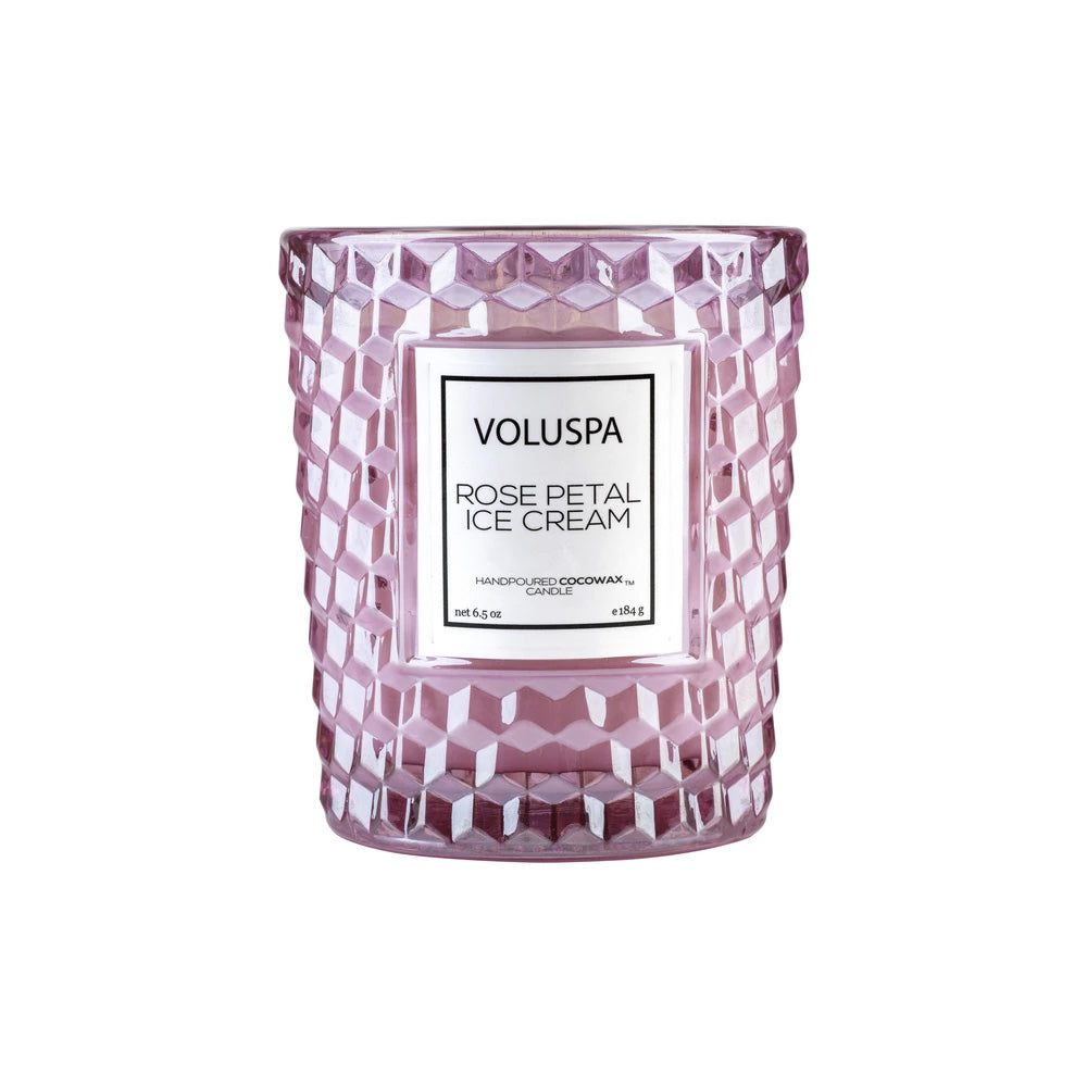 ROSE PETAL ICE CREAM - TEXTURED GLASS CANDLE - Ace Beauty Center