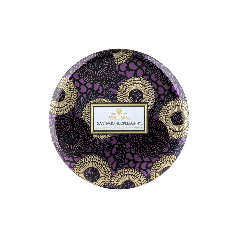 SANTIAGO HUCKLEBERRY 3 WICK TIN CANDLE - Ace Beauty Center