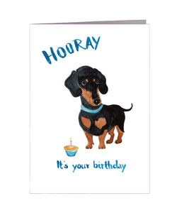 Geburtstagskarte | It's your birthday | Hund | Dackel