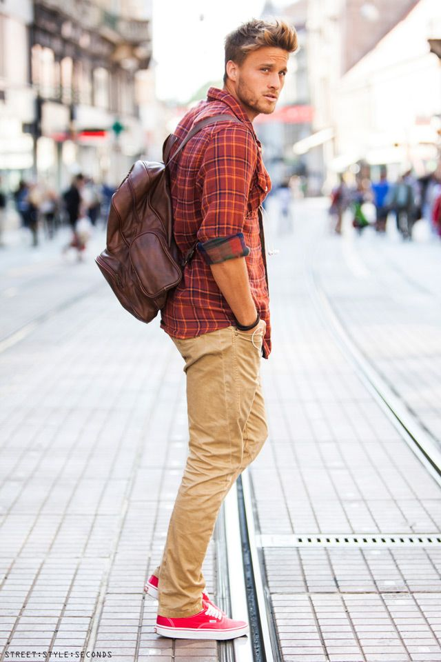 plaid shirts and twill pants a winning combination