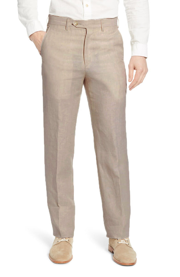 Classic Linen Pant<br>Flat Front<br>Regular Rise