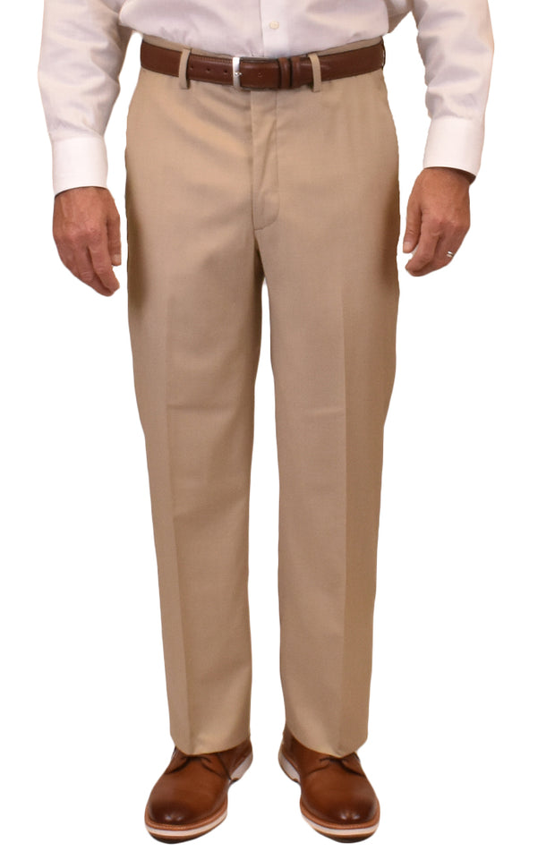 Covert Twill Super 110's Stretch Wool<br>Flat Front<br>Regular Rise