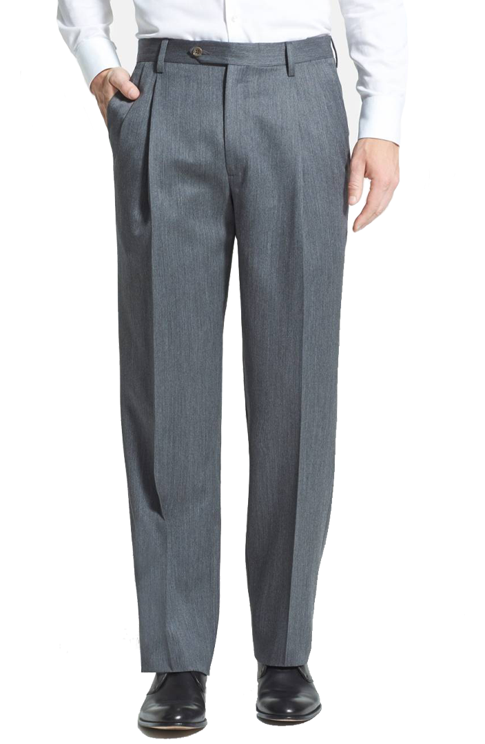 Double Pleated Super 100s Worsted Wool Trousers