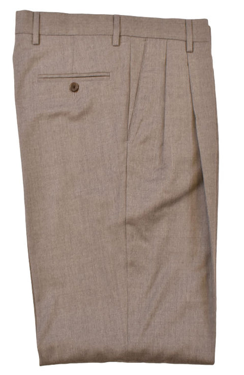 Stretch Brushed Wool Pleated Pant<br>Regular Rise