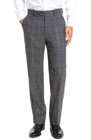 Italian Worsted Wool Windowpane, Touch Finish, Flat Front