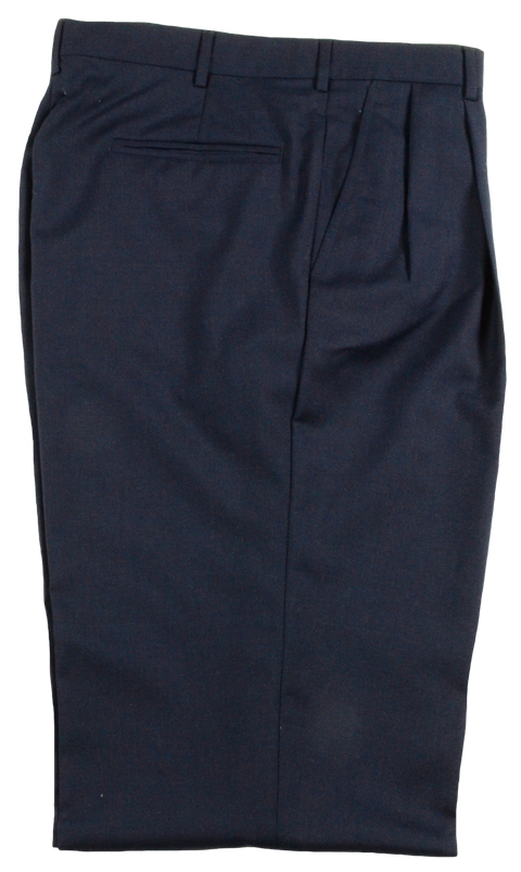 Polyester Wool Tropical<br>Self Sizer, Pleated<br>Charcoal Blue