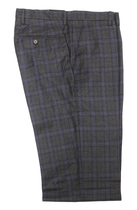 Charcoal Grey/Blue Plaid