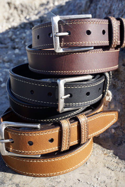 Oil Tanned Dress Belt<br>Cognac