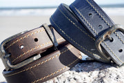 Oil Tanned Casual Belt<br>Distressed Buckle<br>Sienna