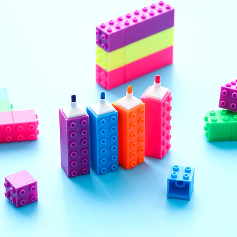 1 Pcs Creative Kawaii Building Block Highlighter