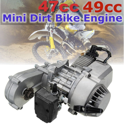 49cc 47cc Motorcycle Complete Engine 2-Stroke Pull Start W/Transmission Silver For Mini Dirt Bike