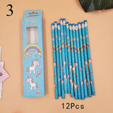 12Pcs Cute Candy HB Pencils Kawaii Unicorn Wooden Student Pencil For Kids Gift School Supplies Pencil Stationery